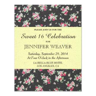 Flor cor-de-rosa no papel preto e amarelo pálido convite 10.79 x 13.97cm