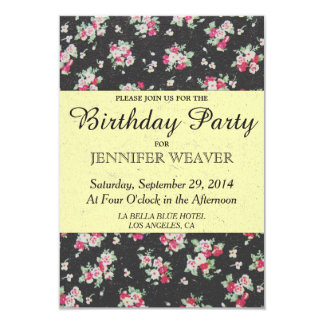 Flor cor-de-rosa no papel preto e amarelo pálido convite 8.89 x 12.7cm