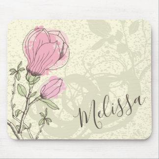 Flor cor-de-rosa personalizada | Mousepad da