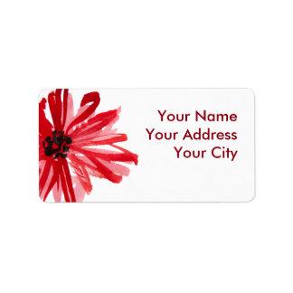 Flor da aguarela etiqueta de endereço