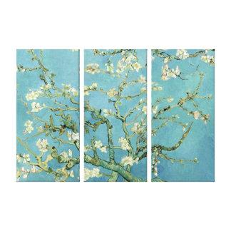 Flor da amêndoa por canvas triplas do painel de impressão em tela canvas