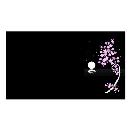 flor da árvore do design do desenho da lua da modelos cartões de visitas