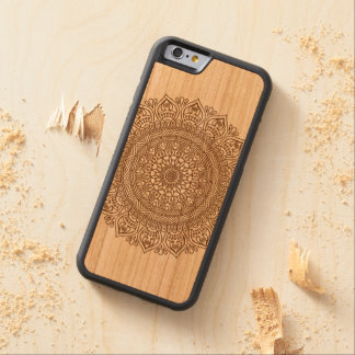 Flor da mandala nas capas de iphone de madeira