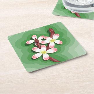 Flor da pera porta-copo de papel quadrado