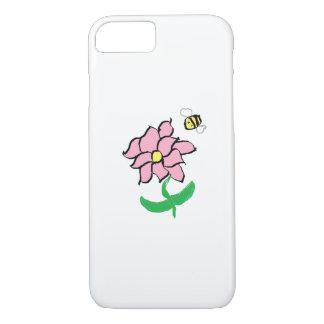 Flor da primavera e capa de telefone da abelha