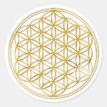 FLOR DA VIDA - ouro Adesivo Em Formato Redondo