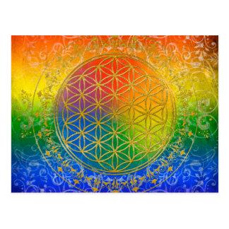 Flor da vida - ouro do arco-íris do ornamento cartões postais