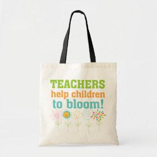 Flor das crianças da ajuda dos professores sacola tote budget