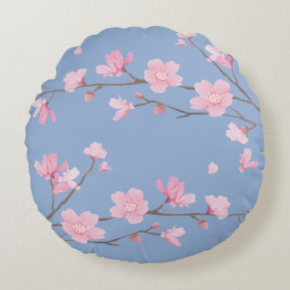 Flor de cerejeira - azul da serenidade - FELIZ Almofada Redonda