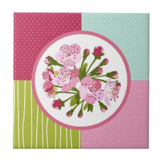 Flor de cerejeira azulejo quadrado pequeno