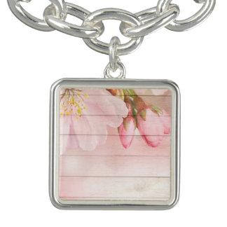 Flor de cerejeira braceletes com pingentes