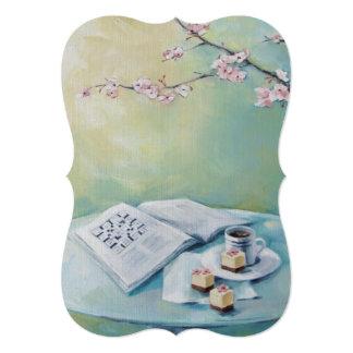 Flor de cerejeira, café, convite vazio das