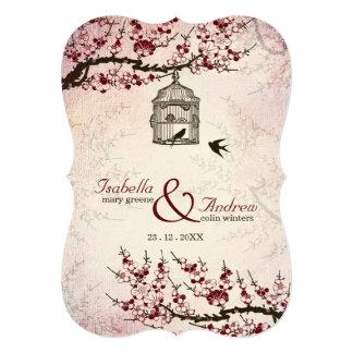 Flor de cerejeira e convite de casamento dos