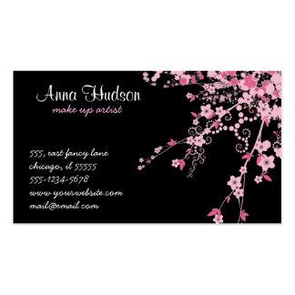 Flor de cerejeira, flores de Sakura - preto Modelos Cartões De Visita