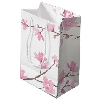 Flor de cerejeira - fundo transparente sacola para presentes média
