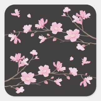 Flor de cerejeira - preto adesivo quadrado