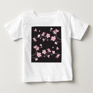 Flor de cerejeira - preto camiseta para bebê