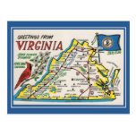 Flor de estado do mapa de Virgínia dos cumprimento Cartões Postais