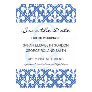 Flor de lis azul e branca do renascimento convite 12.7 x 17.78cm