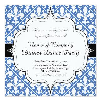 Flor de lis azul e branca do renascimento convite quadrado 13.35 x 13.35cm