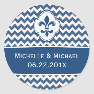 Flor de lis branca azul personalizada Chevron Adesivo