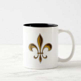 Flor de lis caneca de café em dois tons
