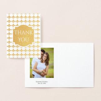 Flor de lis da folha que Wedding o obrigado Cartão Metalizado