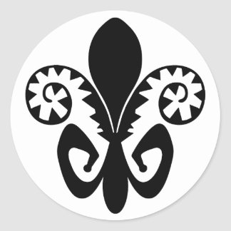 Flor de lis do jazz (preto) adesivo redondo