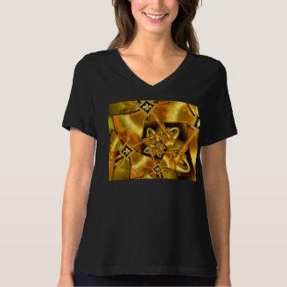 Flor de lis dourada do Fractal na fita do cetim do Camisetas