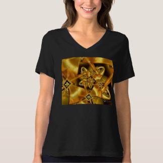Flor de lis dourada do Fractal na fita do cetim do Tshirt