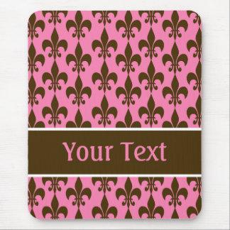Flor de lis personalizada Brown cor-de-rosa Mouse Pad