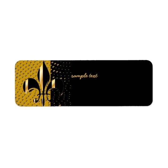 Flor de lis preta do ouro etiqueta endereço de retorno