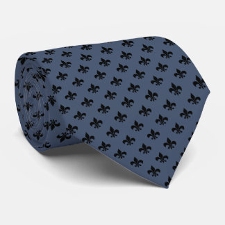 Flor de lis preta moderna na calças de ganga azul gravata
