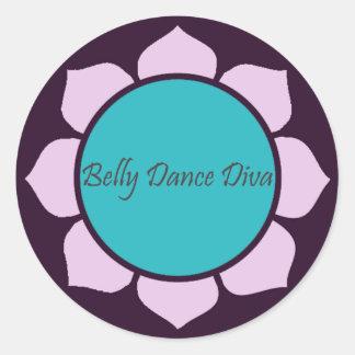 Flor de Lotus da diva da dança do ventre Adesivo Em Formato Redondo