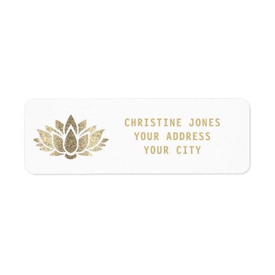 flor de lótus do brilho do ouro do falso etiqueta endereço de retorno