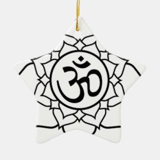 Flor de Lotus, preta com fundo branco Ornamento De Cerâmica