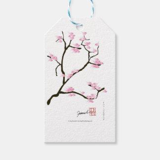 flor de sakura com pássaros cor-de-rosa, fernandes etiqueta para presente
