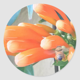 Flor de trombeta alaranjada com abelha adesivo redondo