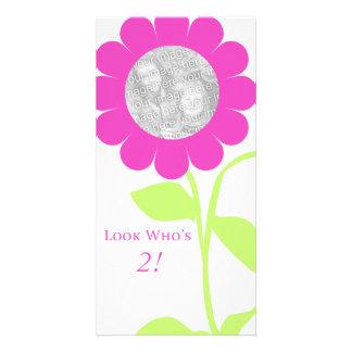 Flor do aniversário cartão com foto