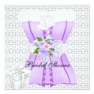 Flor do espartilho do branco do roxo 2 do chá de convite quadrado 13.35 x 13.35cm