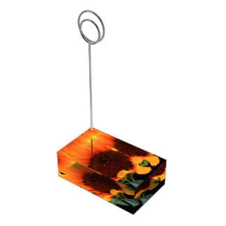 Flor do girassol suportes para cartoes de mesas