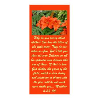 Flor do lírio - laranja iridescente (Matt 28-30) 10.16 X 22.86cm Panfleto