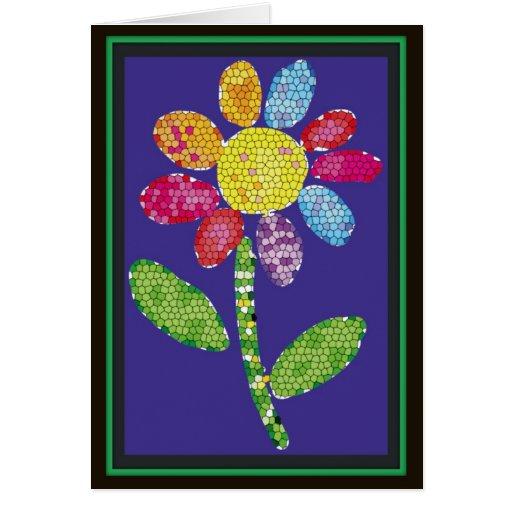 flor do mosaico cartao