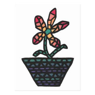 Flor do mosaico do vitral no pote, cartão cartao postal