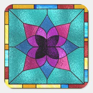 Flor do olhar do vitral adesivos quadrados