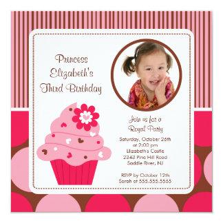 Flor do rosa do convite do aniversário da foto do convite quadrado 13.35 x 13.35cm