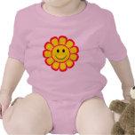 Flor do smiley face macacãozinhos para bebê