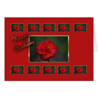 Flor do vermelho da esposa do feliz aniversario cartão comemorativo