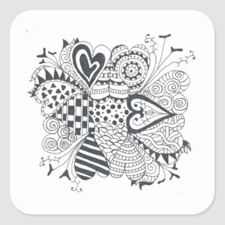 Flor dos corações adesivo quadrado