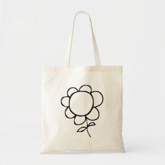 Flor dos desenhos animados bolsa de lona